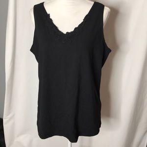 Susan Graver Cotton Blend Lace Detail Tank Top XL